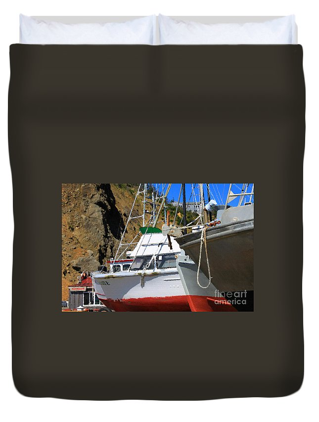 Anchor Duvet Cover featuring the photograph Boats In Drydock by James Eddy