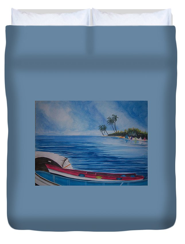 Boats Duvet Cover featuring the painting Boats In The Caribbean by Nancy Nuce