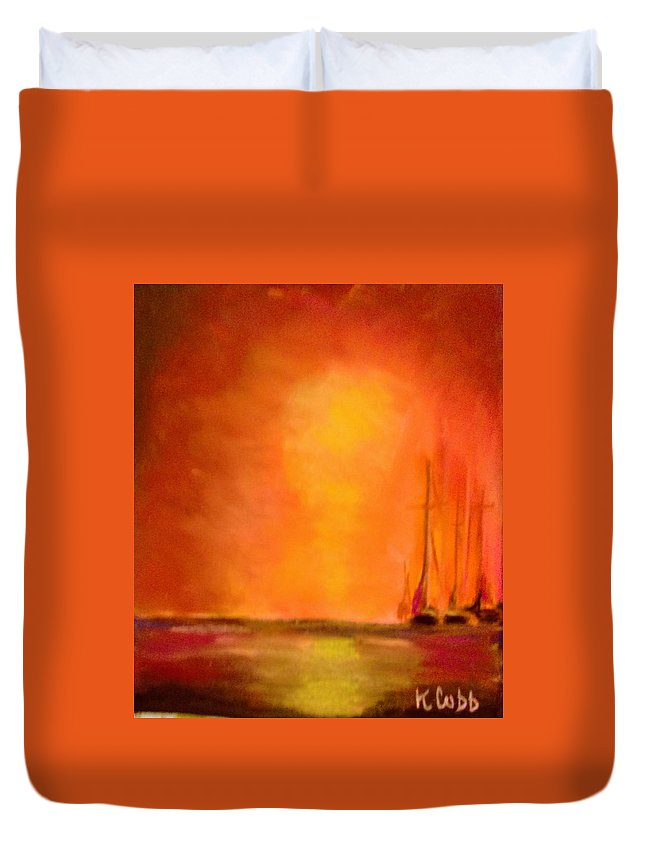 Art Duvet Cover featuring the pastel Boats In The Sunset by Katherine Cobb