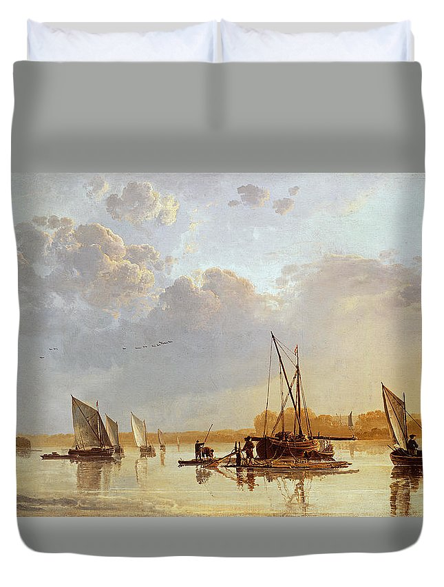 Boats On A River Duvet Cover featuring the painting Boats On A River by Aelbert Cuyp