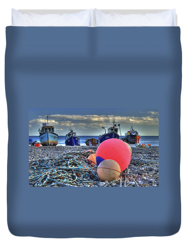 Boats Duvet Cover featuring the photograph Boats On The Beach At Beer by Rob Hawkins