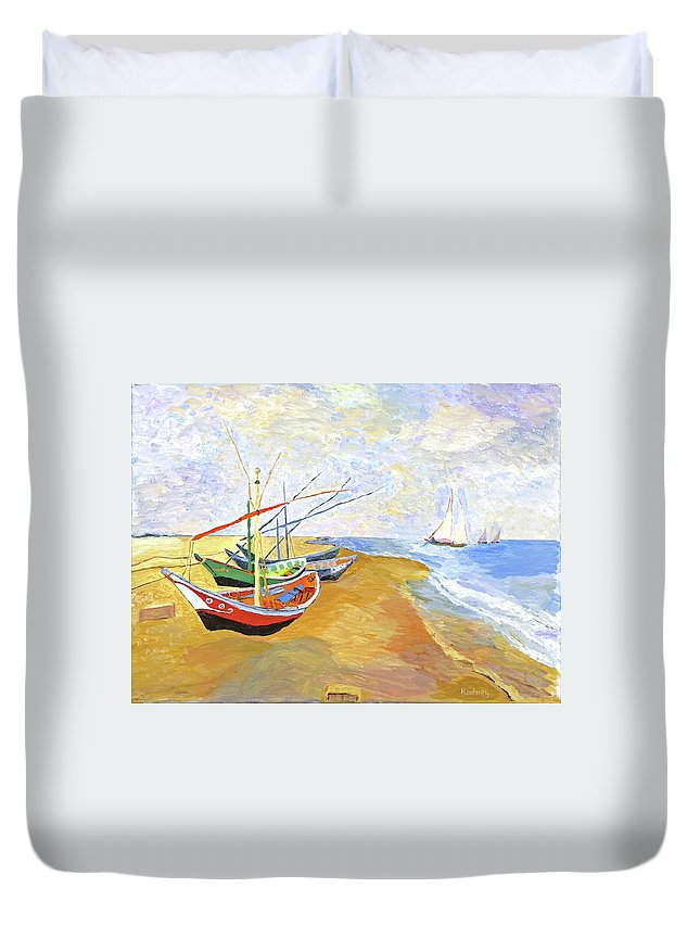 van Gogh Duvet Cover featuring the painting Boats On The Beach At Saintes-maries After Van Gogh by Rodney Campbell