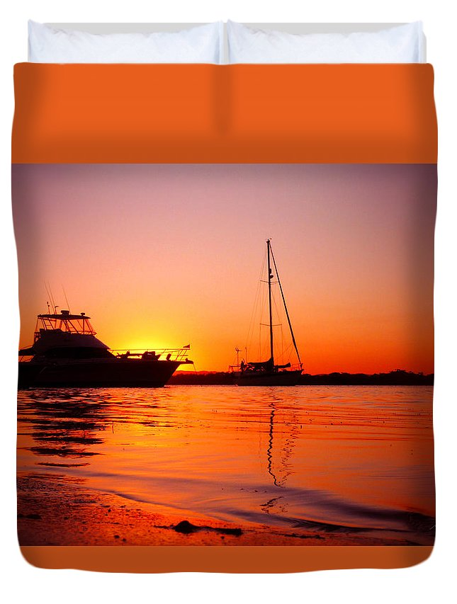 Sunset Duvet Cover featuring the photograph Boats Sunset by Michael Blaine