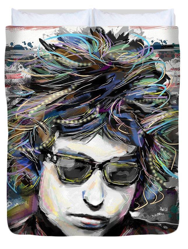 Bob Dylan Duvet Cover featuring the mixed media Bob Dylan Art by Ryan Rock Artist