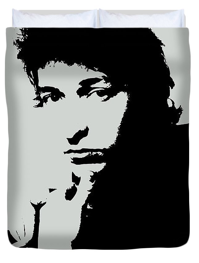 Bob Dylan Duvet Cover featuring the painting Bob Dylan Poster Print Quote - The Times They Are A Changin by Beautify My Walls