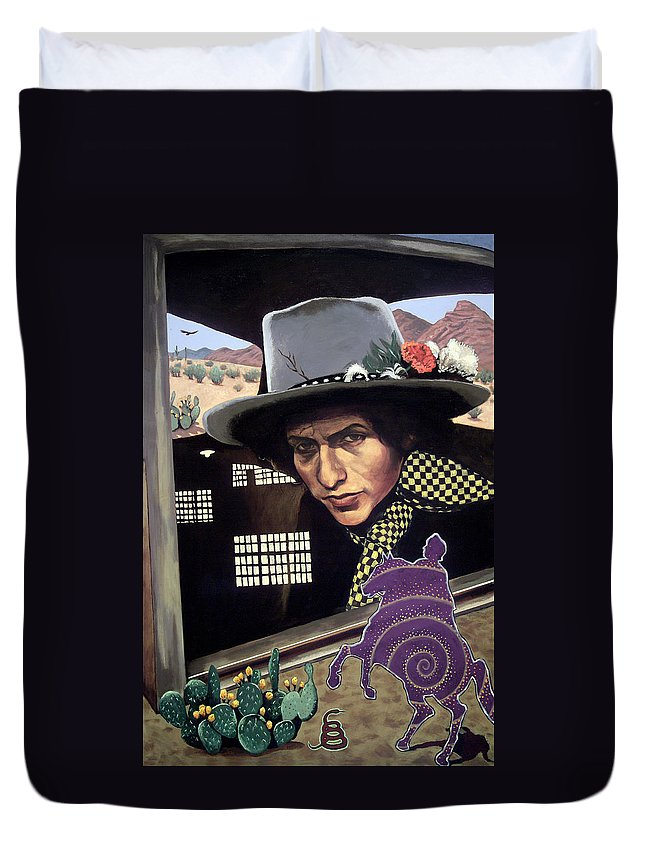 Bob Dylan Duvet Cover featuring the painting Bob Dylan Surreal Desert by Rodger Ferris