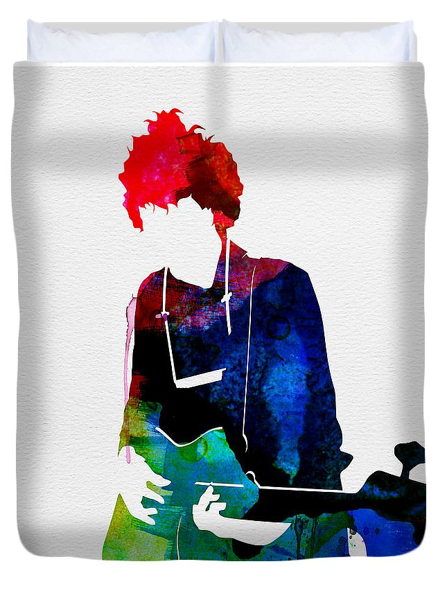 Bob Dylan Duvet Cover featuring the painting Bob Watercolor by Naxart Studio