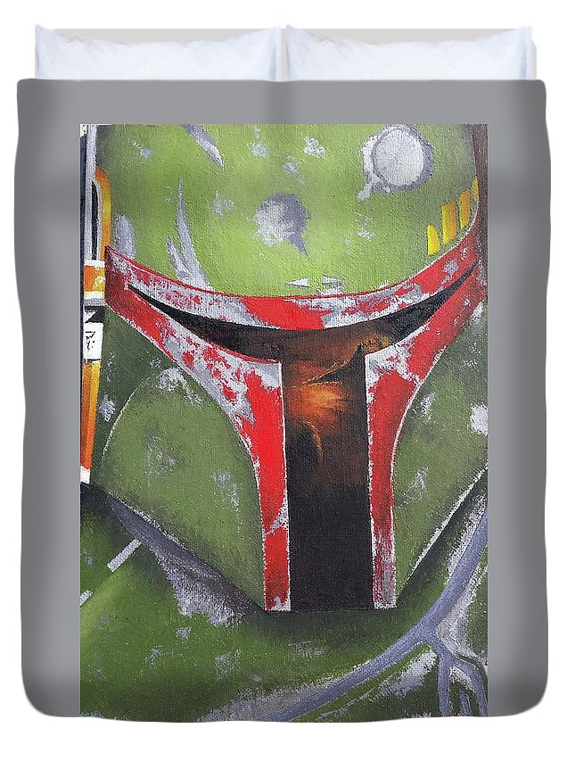 Duvet Cover featuring the painting Boba Fett by Simon Salazar