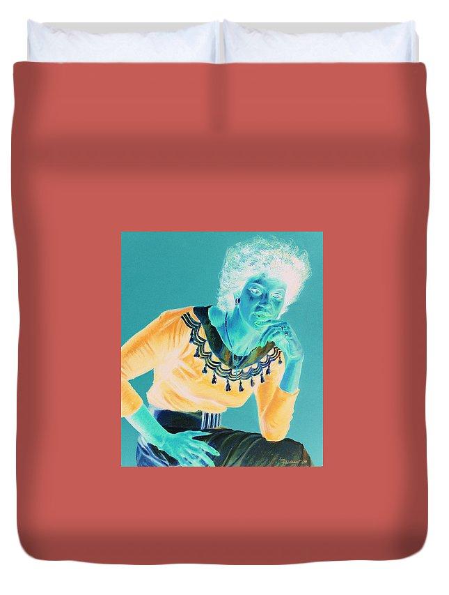 Portrait Duvet Cover featuring the painting Bobbi by Jean Hildebrant