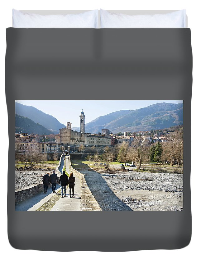 Abbey Duvet Cover featuring the photograph Bobbio Bridge Piacenza Emilia Romagna Italy Travel by Luca Lorenzelli