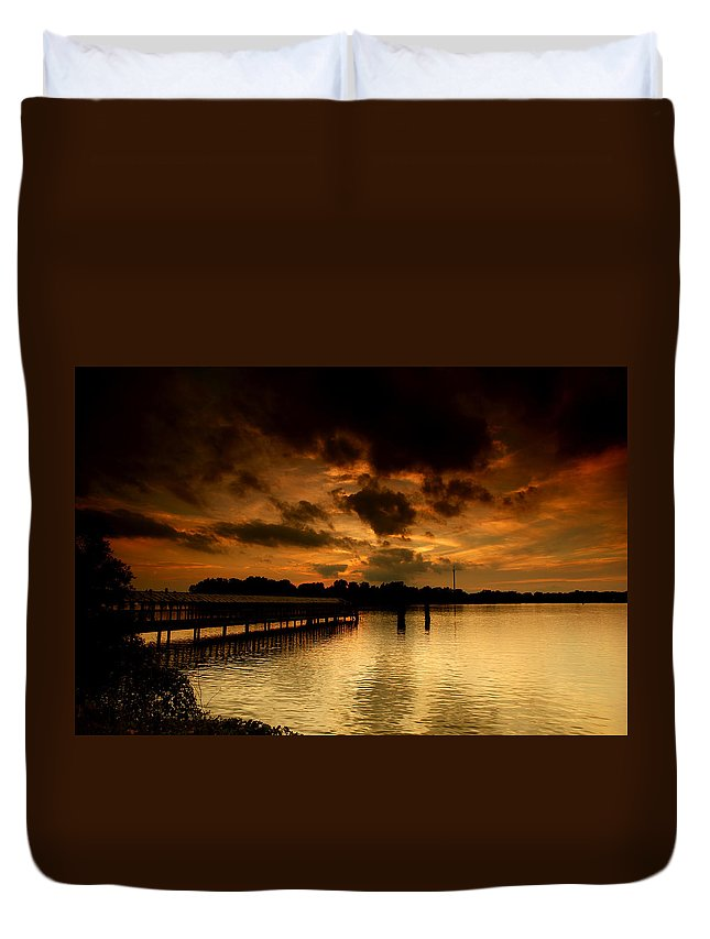 Sunset Duvet Cover featuring the photograph Boblo Dock by Cale Best