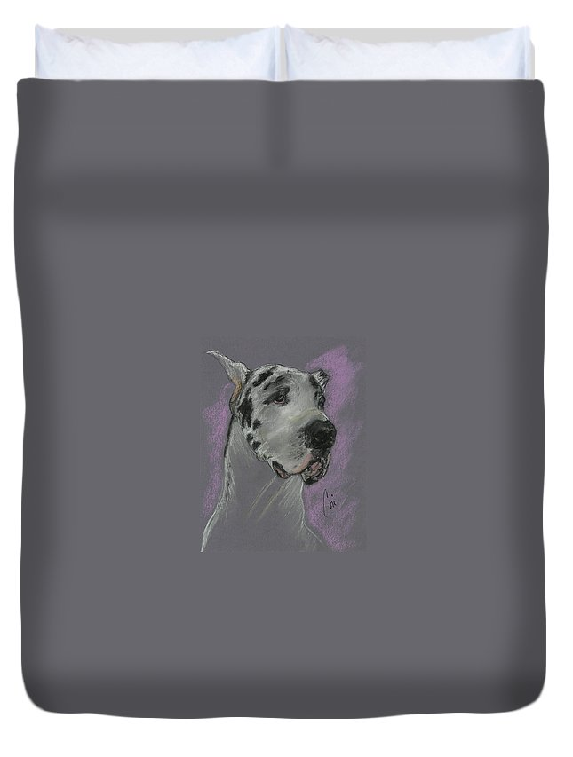Great Dane Duvet Cover featuring the drawing Bodhi's Mystique by Cori Solomon