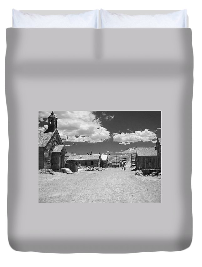 Ghost Town Duvet Cover featuring the photograph Bodie A Ghost Town Infrared by Christine Till