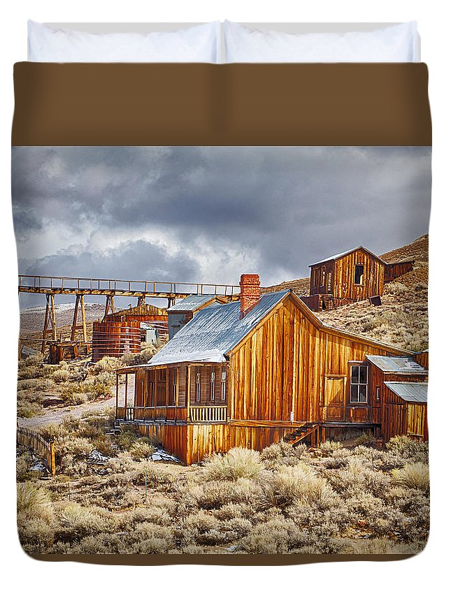 Bodie Duvet Cover featuring the photograph Bodie Stamp Mill, Sunrise With A Dusting Of Snow by Kenneth Bradley