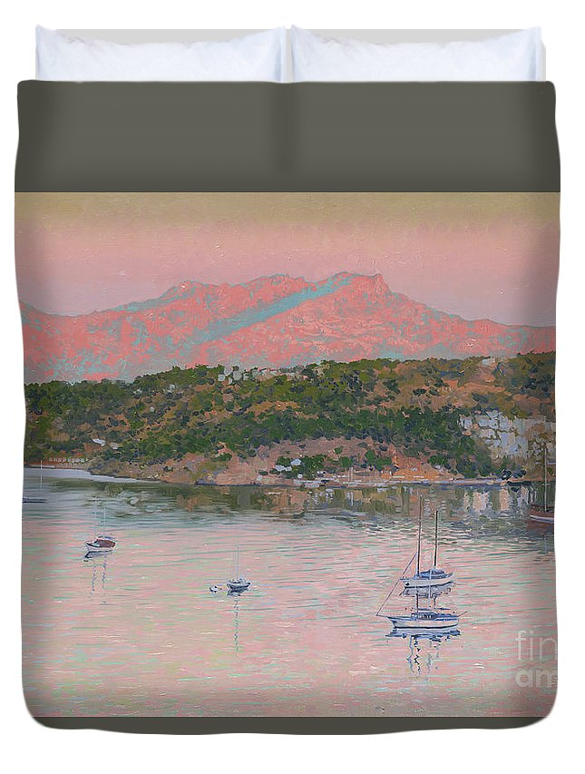 Bodrum Duvet Cover featuring the painting Bodrum.pink Sunrise by Simon Kozhin