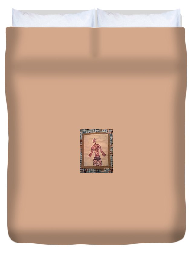 Body Muscles Man Blood Duvet Cover featuring the drawing Body by Den Lela