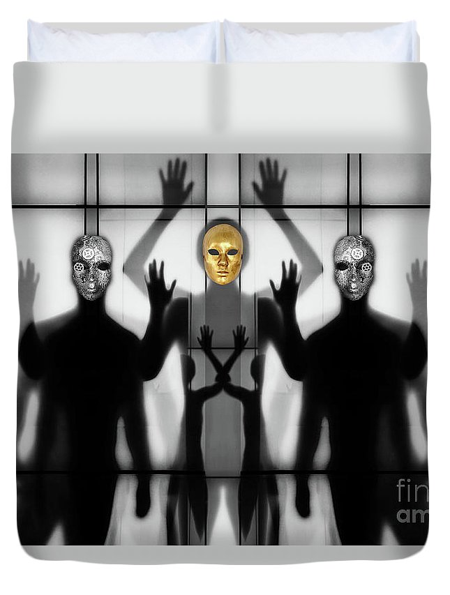 Gold Duvet Cover featuring the photograph Body Language 64 by Igor Shrayer
