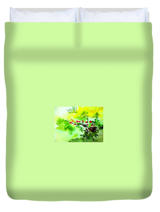 Floral Duvet Cover featuring the painting Boganwel by Anil Nene