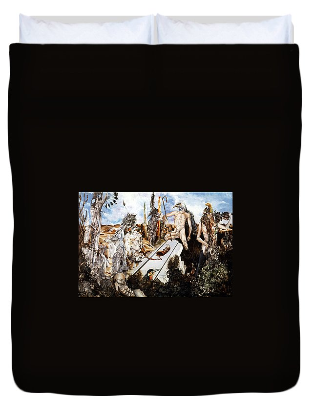 Surrealism Duvet Cover featuring the painting Bogomils Court by Otto Rapp