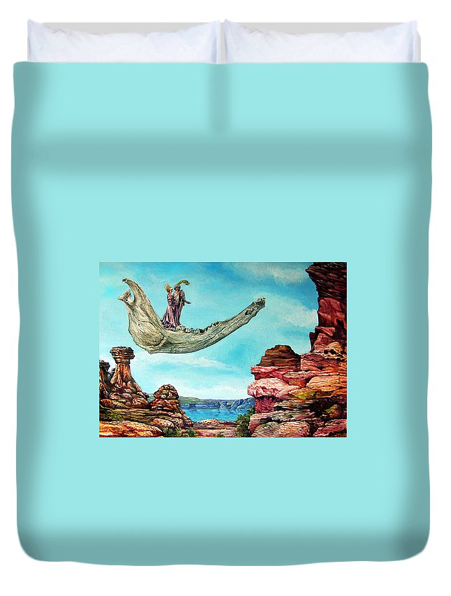 Painting Duvet Cover featuring the painting Bogomils Journey by Otto Rapp