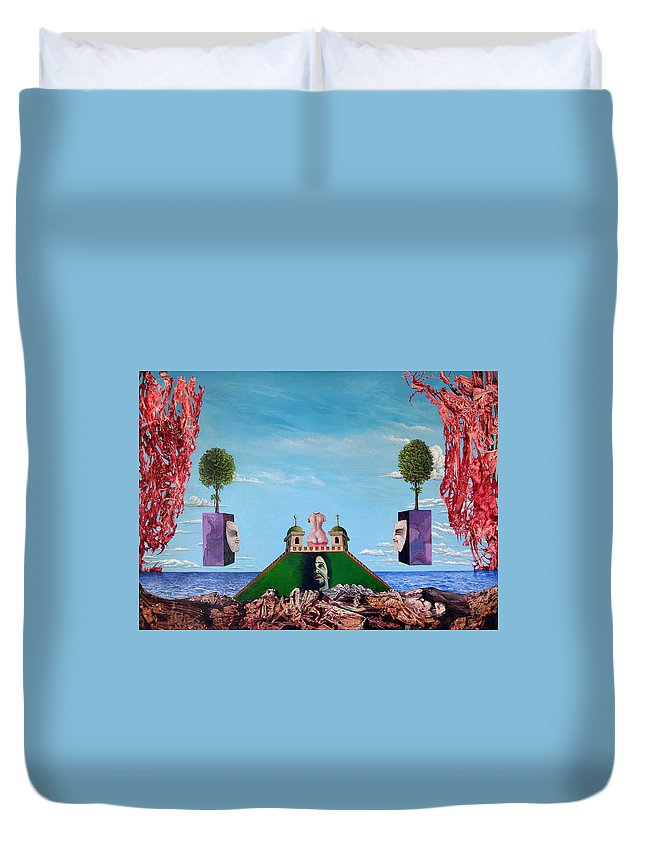 Painting Duvet Cover featuring the painting Bogomils Monastic Retreat by Otto Rapp