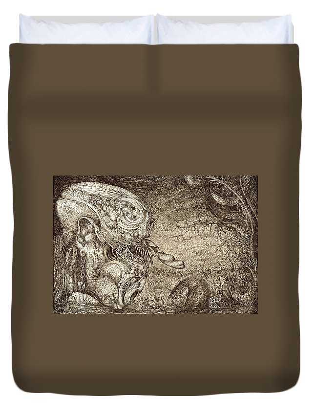 Surreal Duvet Cover featuring the drawing Bogomils Mousetrap by Otto Rapp