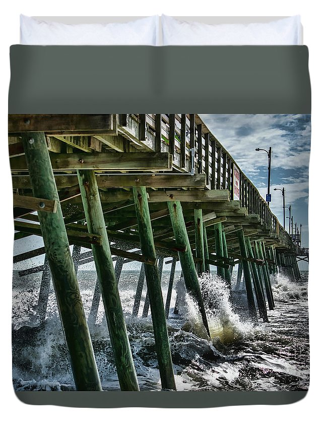 Ocean Duvet Cover featuring the photograph Bogue Inlet Pier by Kelley Freel-Ebner