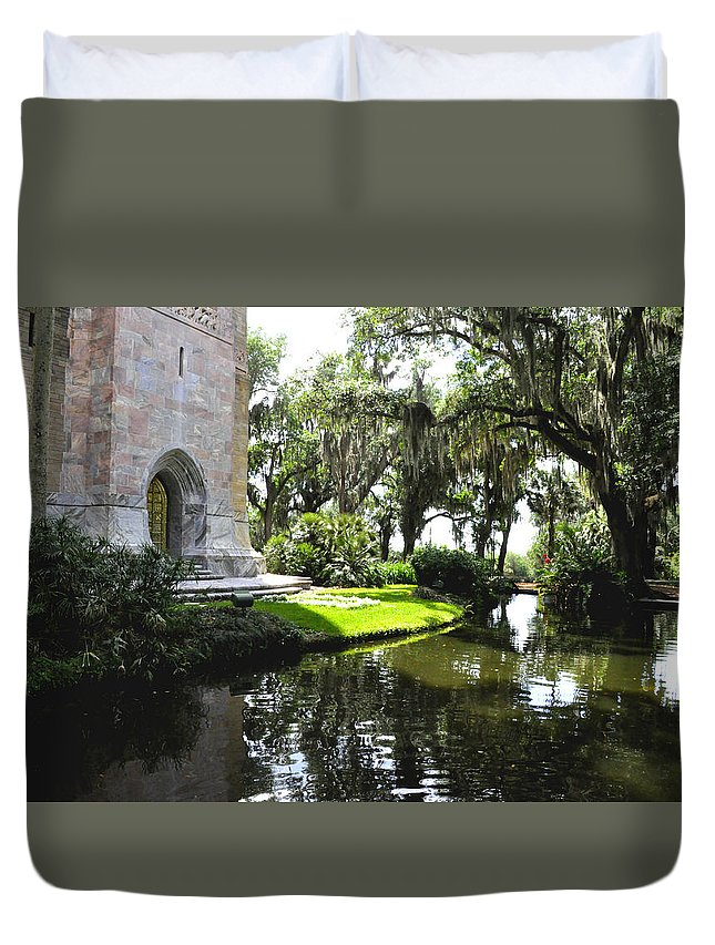 Tower Duvet Cover featuring the photograph Bok Tower With Moat by Debra White