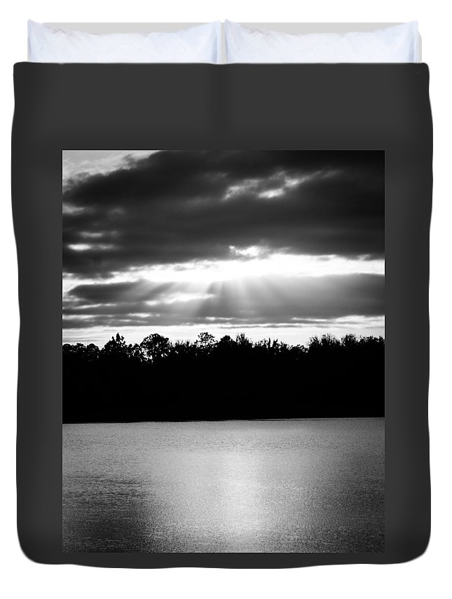 Monochrome Duvet Cover featuring the photograph Bold Rays Monochrome by Parker Cunningham