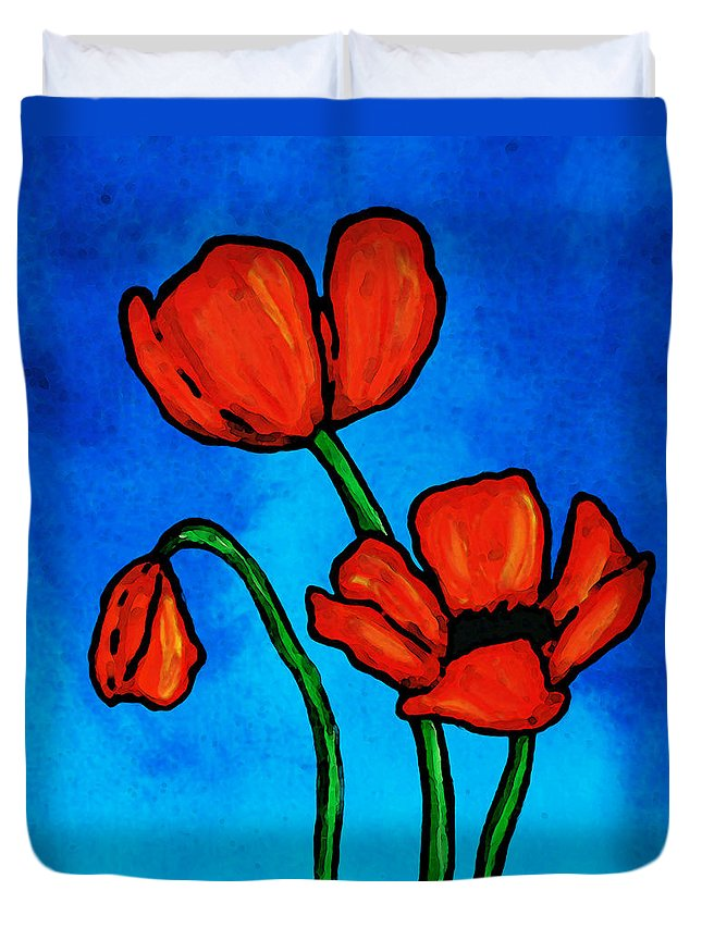 Red Duvet Cover featuring the painting Bold Red Poppies - Colorful Flowers Art by Sharon Cummings