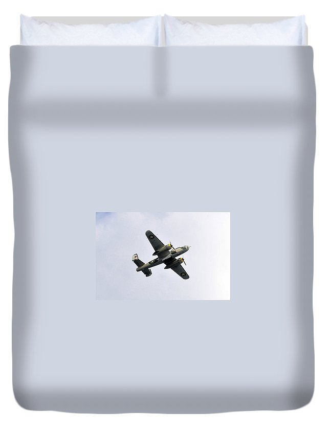 North American B 25 Mitchel Bomber Duvet Cover featuring the photograph Bombs Away by David Lee Thompson