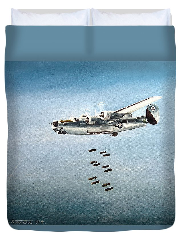 Aviation Duvet Cover featuring the painting Bombs Away by Marc Stewart