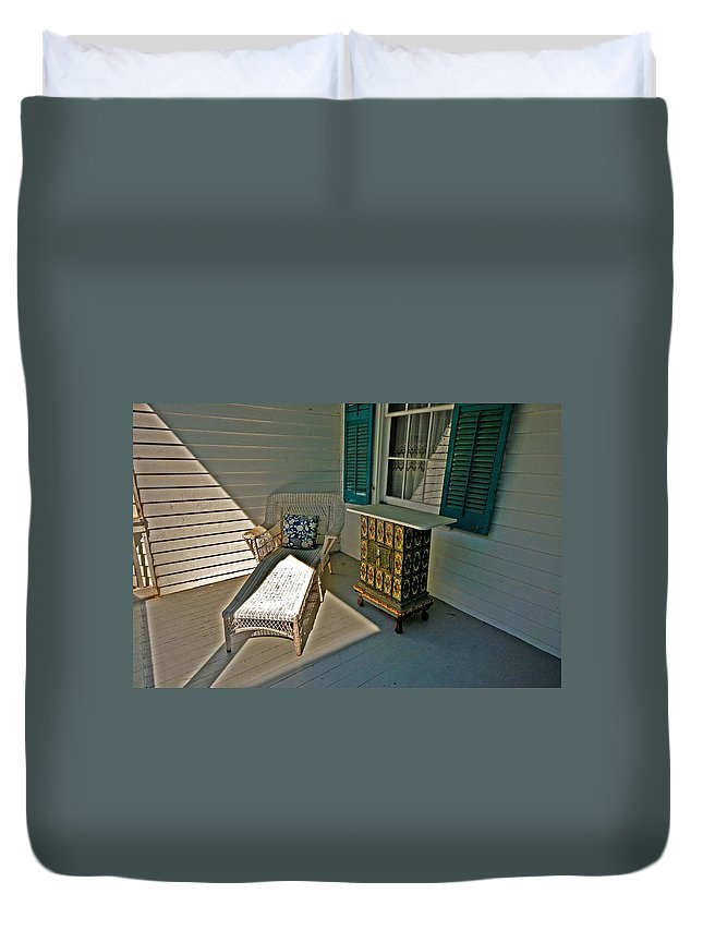 Lounge Duvet Cover featuring the painting Bon Secour Lounge On The Porch by Michael Thomas