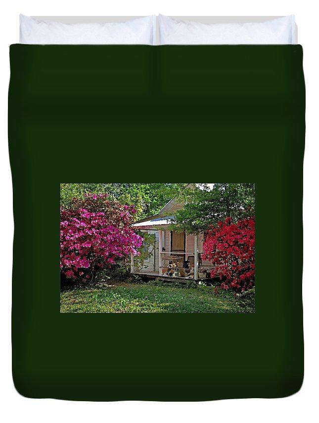 Fairhope Duvet Cover featuring the digital art Bon Secour Pink Porch by Michael Thomas