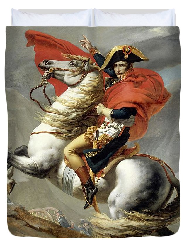 Napoleon Duvet Cover featuring the painting Bonaparte Crossing The Alps by Jacques Louis David
