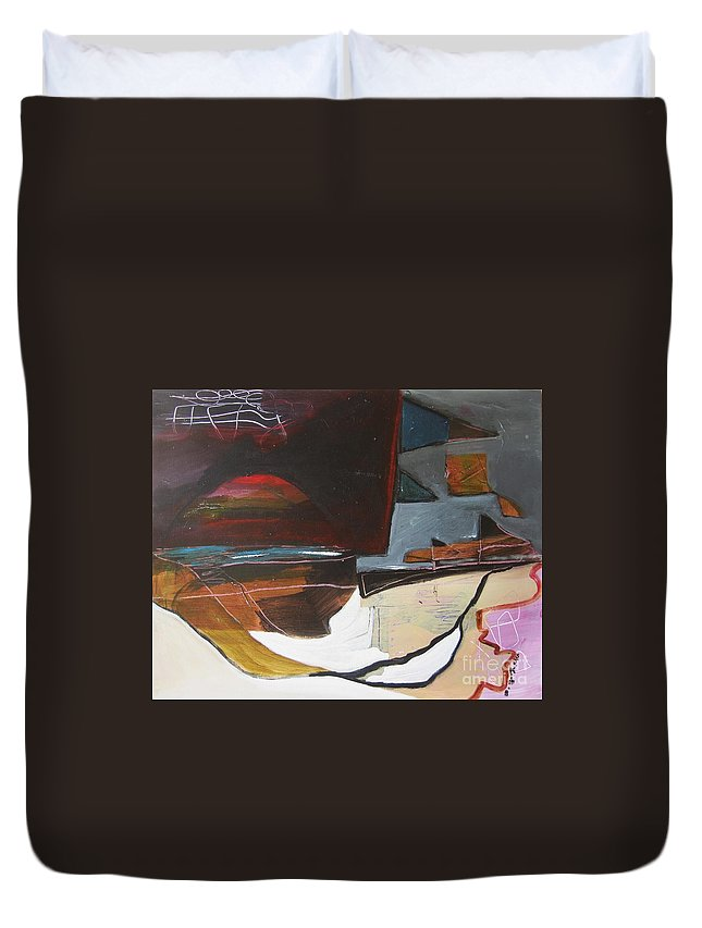 Abstract Atlantic Newfoundland Landscape Seascape Ocean Acrylic Paper Dusk Bonavista Canvas Duvet Cover featuring the painting Bonavista At Dusk by Seon-Jeong Kim