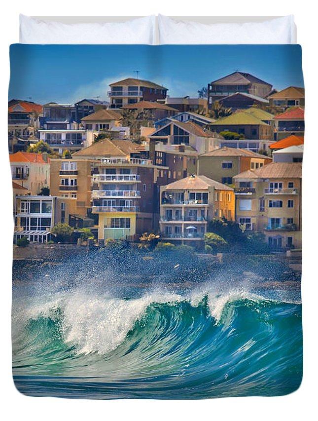 Sydney Duvet Cover featuring the photograph Bondi Waves by Az Jackson