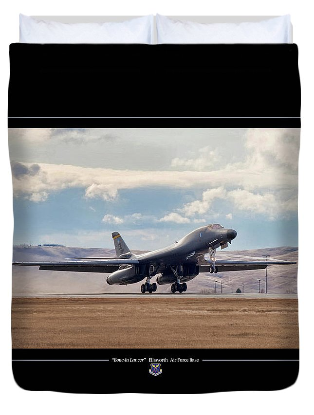 Aviation Duvet Cover featuring the digital art Bone-in Lancer by Peter Chilelli