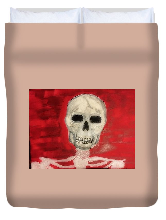 Skeleton Duvet Cover featuring the painting Bones by Patricia Snoderly