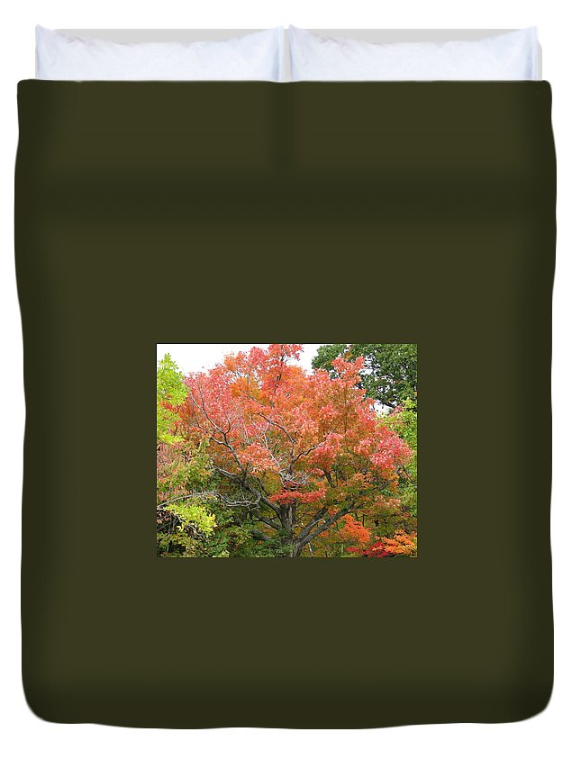 Fall Duvet Cover featuring the photograph Bonfire by Kelly Mezzapelle