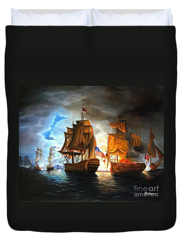 Naval Battle Duvet Cover featuring the painting Bonhomme Richard Engaging The Serapis In Battle by Paul Walsh