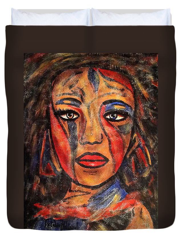 Woman Duvet Cover featuring the painting Bonita by Natalie Holland