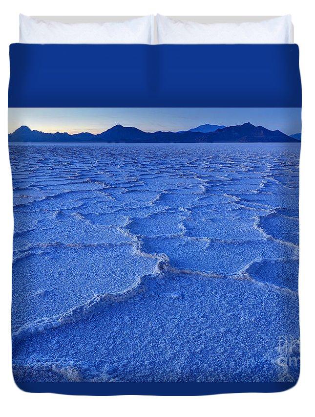Salt Flats Duvet Cover featuring the photograph Bonneville Salt Flats At Dusk by Gary Whitton