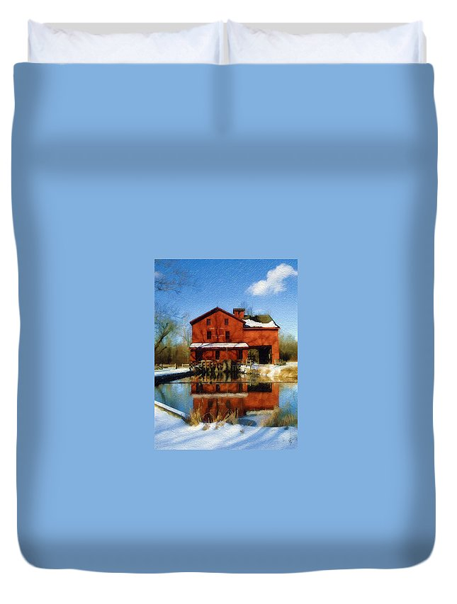 Bonneyville Mill Duvet Cover featuring the photograph Bonneyville In Winter by Sandy MacGowan