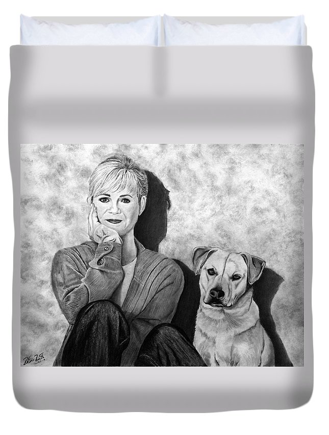 Bonnie Hunt And Charlie Duvet Cover featuring the drawing Bonnie Hunt And Charlie by Peter Piatt