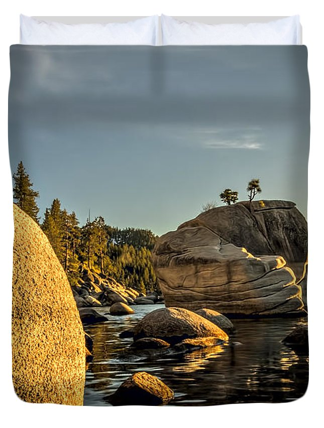 Background Duvet Cover featuring the photograph Bonsai Rock by Maria Coulson