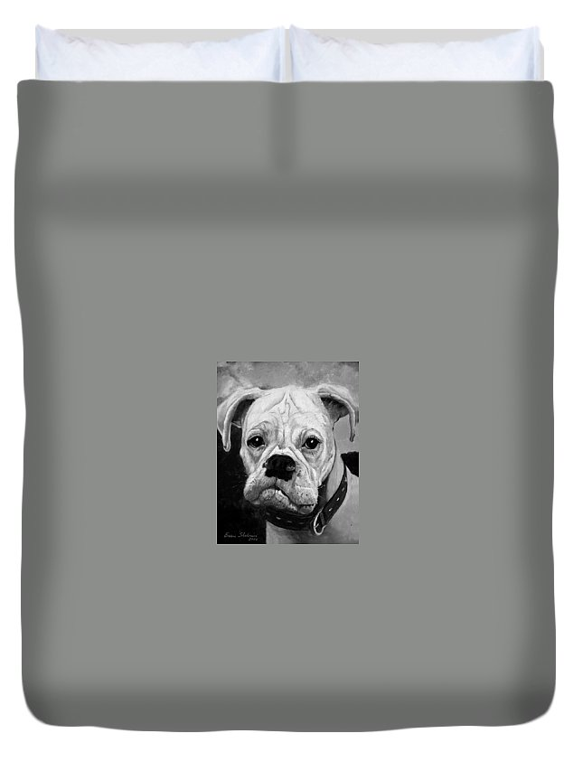 Boxer Duvet Cover featuring the painting Boo The Boxer by Portraits By NC