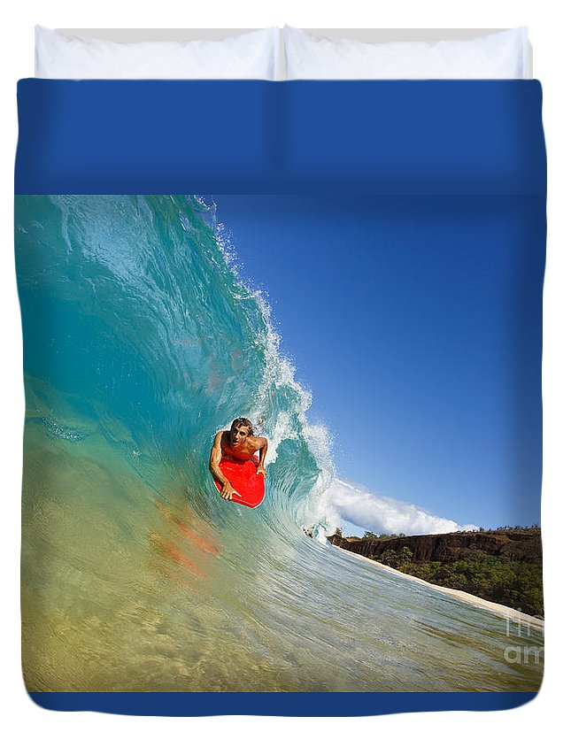 Action Duvet Cover featuring the photograph Boogie Boarding At Makena by MakenaStockMedia - Printscapes