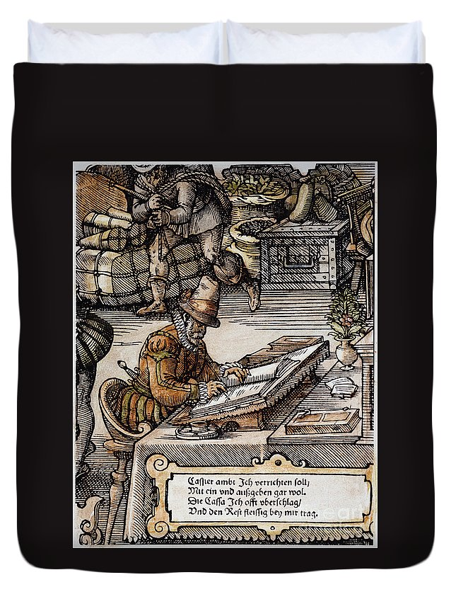 16th Century Duvet Cover featuring the photograph Bookkeeper, 16th Century by Granger