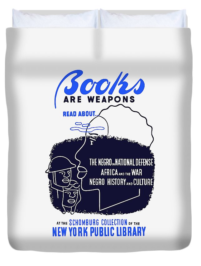 Wpa Duvet Cover featuring the painting Books Are Weapons - Wpa by War Is Hell Store
